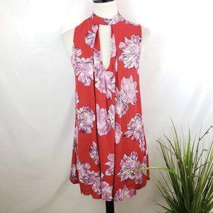 Red Floral Hawaiian Keyhole Dress Small